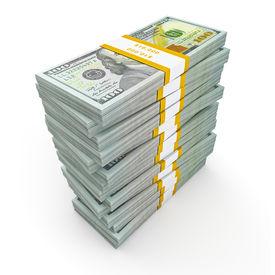 pic of 100 dollars dollar bill american paper money cash stack  - Creative business finance making money concept  - JPG