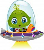 foto of alien  - Illustration Featuring an Alien Boy Using His Spaceship - JPG