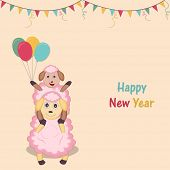 stock photo of new years baby  - Happy New Year celebration poster with baby and mother sheep holding colorful balloons on ribbon decorated background - JPG