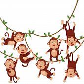 stock photo of monkeys  - Illustration of monkeys funny cartoon with zoo - JPG