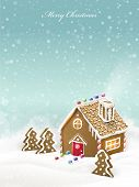 pic of gingerbread house  - lovely Christmas gingerbread house isolated on snowy background - JPG