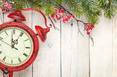 picture of view from space needle  - Christmas wooden background with fir tree and antique alarm clock - JPG