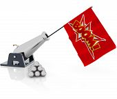 stock photo of cannon-ball  - cannon shooting a flag on white background - JPG