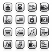image of household  - Household Gas Appliances icons  - JPG