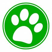 picture of paws  - Paw button on white background - JPG