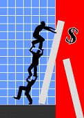 pic of stock market crash  - Business metaphor for the desperate trial or three business people to fight the crash - JPG