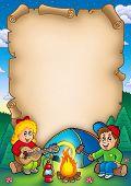 Постер, плакат: Старый пергамент с кемпинга дети