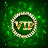 picture of starry  - Green starry background with diamonds and golden letters Vip - JPG