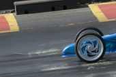 picture of dragster  - dragster at the start of a quarter mile race - JPG