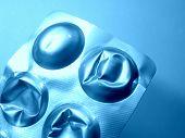 image of gamma  - Used pill blister in light blue gamma - JPG