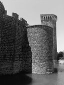 image of grayscale  - Old towers of a medieval castle situated in center Italy - JPG