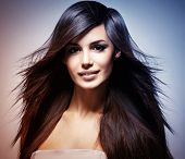 image of hair blowing  - Fashion model with long straight hair - JPG