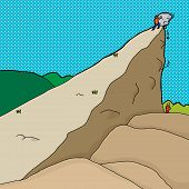 pic of unawares  - Man pushing boulder from cliff onto man below - JPG