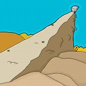 pic of unawares  - Cartoon of unstable rocks falling on unaware man - JPG