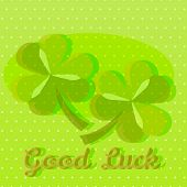image of vivacious  - Bright green good luck greeting card template with two shamrocks on dotted background and text space - JPG