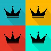 image of crown jewels  - Flat crown icon eps 10 vector illustration - JPG