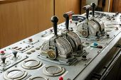 pic of nautical equipment  - Ship control bridge navigation nautical drive sea - JPG