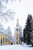 stock photo of uglich  - White and yellow church in winter in Uglich  - JPG