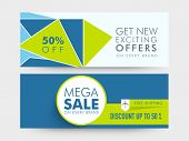 picture of 50s  - Mega Sale website header or banner set with free shipping and 50 - JPG