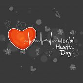pic of beat  - World Health Day concept with illustration of red heart and heart beats on medical background - JPG