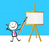 stock photo of cute kids  - Little girl painting on easel - JPG