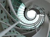 picture of staircases  - modern glass spiral staircase with metallic hand - JPG