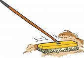 foto of broom  - Isolated cartoon push broom sweeping away dust - JPG