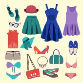 stock photo of short skirt  - Vector Fashion Collection of summer clothes  - JPG