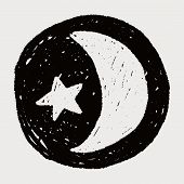 stock photo of moon stars  - Moon And Star Doodle Drawing - JPG