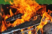 picture of ember  - Burning down fire - JPG