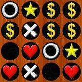 pic of toe  - Tic Tac Toe wooden board with white symbol heard stars and dollar sigh - JPG