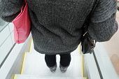 picture of escalator  - Rear view of woman using the escalator - JPG