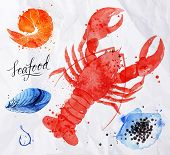 picture of hook  - Set watercolor drawn seafood - JPG