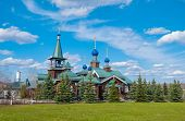 stock photo of epiphany  - Wooden Church of the Epiphany in Moscow suburbs - JPG