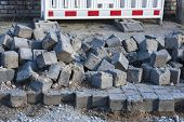 pic of paving stone  - road construction site with grey paving stones - JPG