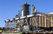 image of barge  - Grain elevators barge and tower Portland Oregon - JPG