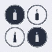 foto of vodka  - 4 alcohol bottles icons shows off different bottles shapes like a vodka and a beer. Pictured here from left to right -  gin whiskey vodka vodka. - JPG