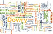 image of dowry  - Background concept wordcloud illustration of dowry - JPG