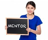 picture of mentoring  - Asian student show with blackboard a word mentor - JPG