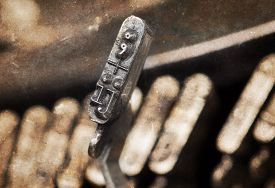 stock photo of ijs  - IJ hammer for writing with an old manual typewriter  - JPG