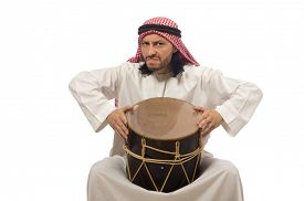 stock photo of arab man  - Arab man playing drum isolated on white - JPG
