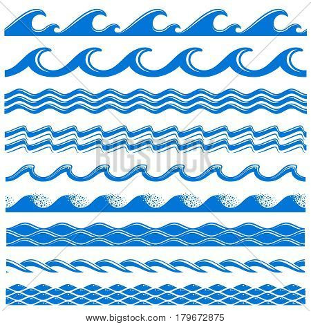 poster of Sea water waves vector seamless borders set. Decorative wave sea, illustration of pattern water sea border wave