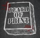 A chalk outline of a book symbolizing the death of the print industry due to the rise of new technol