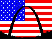 Gateway Arch St Louis Missouri against American Flag