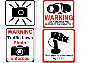 camera and CCTV warning signs illustration