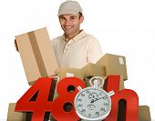 A messenger delivering a parcel with 48 hrs and a chronometer