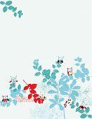 Постер, плакат: Baby графика совы на листьях