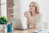 Happy Pretty Cute Woman Working With Computer Enjoying Coffee poster