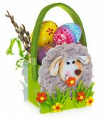 Постер, плакат: Basket With Easter Eggs And Catkins Easter Basket Made Of Felt