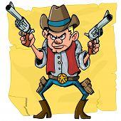 image of sixgun  - Cute cartoon cowboy holding sixguns - JPG